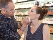 Dior makeup artist, Guillermo Flores, expertly applies lipliner