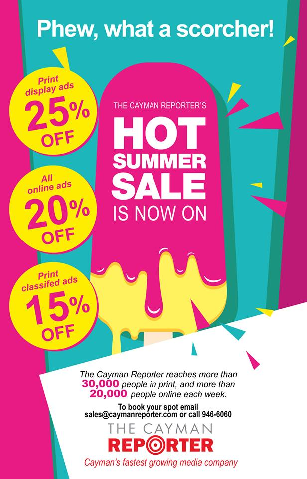The Cayman Reporter summer sale campaign